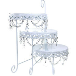 Three Layer Round Metal Cake Stand With Hanging Crystals, White, 15-inch