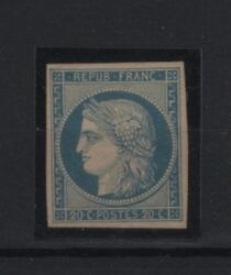 France Stamp Yvert 8 Ceres 20c Blue On Yellowish Durrieu Mng Vf Signed R883
