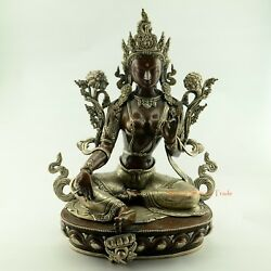 Fine Hand Carved Oxidized Copper 16 Green Tara/dolma Statue From Patan, Nepal
