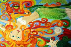 Abstract Colourful Mermaid Artwork Canvas Picture Wall Art