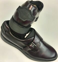 PRADA SHOES WINE BRUSH CALF LOGO SILVER BUCKLED LOGO BACK HEEL MONK 11 US 44 NEW