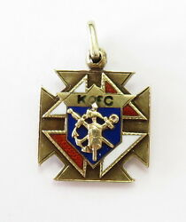 14k Yellow Gold Enamel Knights Of Columbus Charm Necklace Pendant 5.2g