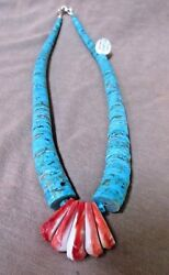 Native Santo Domingo Kingman Turquoise And Coral Necklace By Lupe Lovato Jn0297