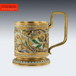 Antique 20thc Imperial Russian Solid Silver-gilt Enamel Tea Glass Holder C.1900