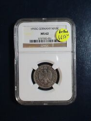 1955g Germany One Mark Ngc Ms62 Silver 1m Coin Priced To Sell Quickly