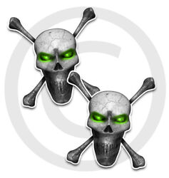 Skull Stickers Decals 2 Pack Green Eyes Front Adhesive 5 Large Sizes Available