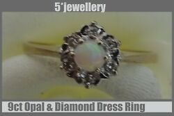Real 9ct 375 Ladies Womans Yellow Red Gold Dress Rings Black White Opal Diamonds