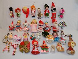 35 Vintage Christmas Ornaments Set Lot Felt Santa Bird Humpty Dumpty Raggedy Ann