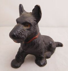 ANTIQUE HUBLEY CAST IRON SCOTTIE DOG SCOTTISH TERRIER BLACK PAPERWEIGHT