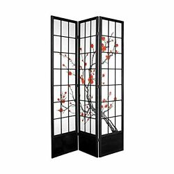 Oriental Furniture Room Divider Privacy Screen 3 Panels Sturdy Spruce Black New