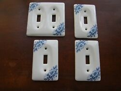 3049) Lot 4: Vntg White Blue Floral Motif Ceramic Wall Switch Plate Covers 9 Scr