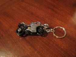 Ducatti Motorcycle Diecast Model Toy Keychain Keyring New Silver Pewter Grey