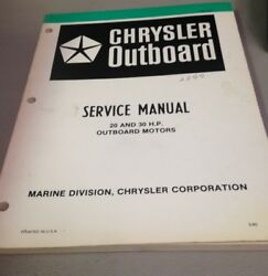 Used Chrysler Outboard Service Manual, 20 And 30 H.p., Outboard Motors, Ob3435