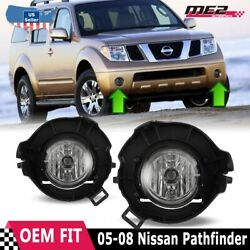 For Nissan Pathfinder 05-12 Factory Bumper Replacement Fit Fog Lights Clear Lens