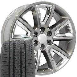 Oew Fits 22x9 Hyper Black And Black Tahoe Ltz Wheels And Tires Rims Chevy