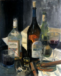 Cigars Whiskey and Vodka - Gift for Dad  20x16 in. Oil on panel  HALL GROAT II