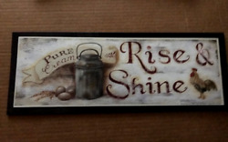 RISE SHINE primitive vintage country kitchen chicken rooster decor wood sign