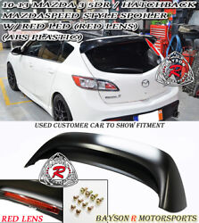 Ms-style Rear Roof Spoiler Abs + Red Lens Leds Fits 10-13 Mazda 3 Hatch 5dr