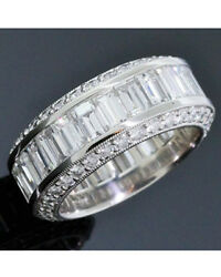 6 carat Round & Baguette Diamond Eternity Band Platinum Ring Size 5.5, F-G VS