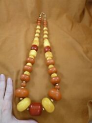 V-601 Huge Chunky Orange Yellow African Moroccan Copal Amber 34 Long Necklace