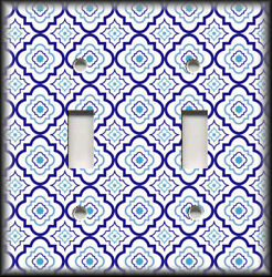 Metal Light Switch Plate Cover - Blue White Moroccan Tiles Designs Decor 02