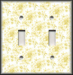 Metal Light Switch Plate Cover Yellow Tan White Floral Toile Home Decor Design