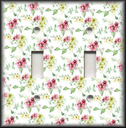 Metal Light Switch Plate Cover Pink Yellow Green Flowers Art Decor Floral Decor