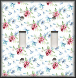 Metal Light Switch Plate Cover Pink Blue Green Flowers Art Decor Floral Decor