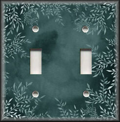 Metal Light Switch Plate Cover Watercolor Art Decor White Floral Dark Teal Decor