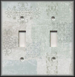 Metal Light Switch Plate Cover Shabby Chic Decor Patchwork Blue Beige Green