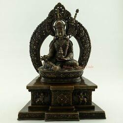 Finely Hand Carved 13.5 Guru Rinpoche Oxidized Copper Alloy Statue Patan, Nepal