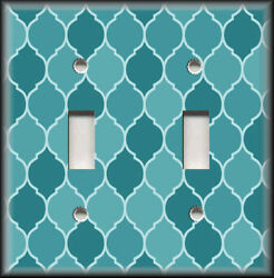 Metal Light Switch Plate Cover Ombre Decor Moroccan Design Turquoise Blue Shades