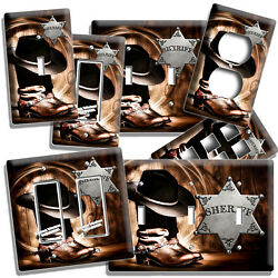 Country Cowboy Boots Hat Lasso Sheriff Star Light Switch Outlet Plate Room Decor