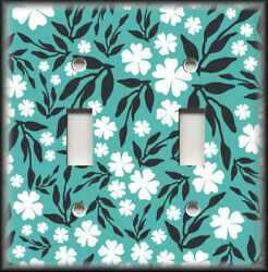 Metal Light Switch Plate Cover Teal Black White Floral Home Decor Flowers Decor