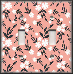 Metal Light Switch Plate Cover White Black Pink Floral Home Decor Flowers Decor