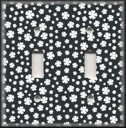 Metal Light Switch Plate Cover Black And White Floral Home Decor Flowers Decor