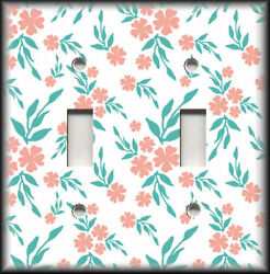 Metal Light Switch Plate Cover White Pink Teal Floral Home Decor Flowers Decor