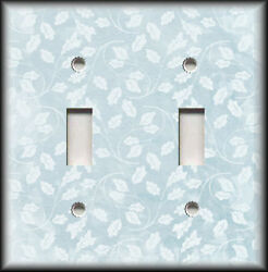 Metal Light Switch Plate Cover Light Blue Grey Floral Home Decor Leaves Design