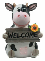 Sunflower Country Side Whimsical Holstein Cow With Welcome Sign Statue 13tall