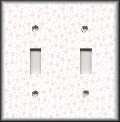 Metal Light Switch Plate Cover Pink Flower On White Background Decor Floral