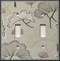 Metal Light Switch Plate Cover Tan And Brown Floral Home Decor Traditional Decor
