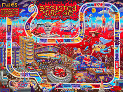 Assisted Suicide Print Ian Young Art Deco Heroin Needle Board Game Spoon Gun
