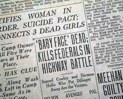 George Baby Face Nelson Bank Robber Battle Of Barrington Killed 1934 Newspaper