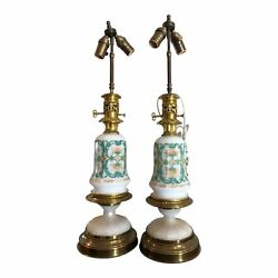 Pair Of Antique White Opaline Glass Oil Lamps
