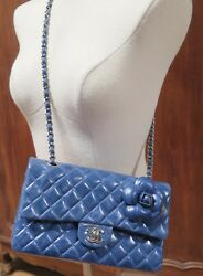 .Auth Chanel Limited edition Brisbane Flap Bag In Ocean Blue Calfskin Leather