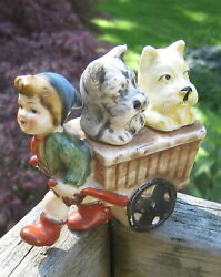 Vintage Scottie Westie Dogs Salt & Pepper in Cart with Boy Pulling