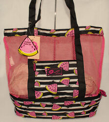 BETSEY JOHNSON - Insulated WATERMELON Mesh COOLER Tote Beach TRAVEL Bag *NEW