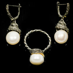 Classic Jewelry Set Design Natural Pearl 14mm. 925 Sterling Silver Ring / Rvss01