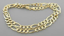 New 14k Yellow Gold Figaro Chain Necklace 2mm - 12mm Sizes 14 - 36