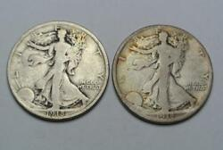 1918 And 1918-d Walking Liberty Half Dollars, Fine Condition - C5659a